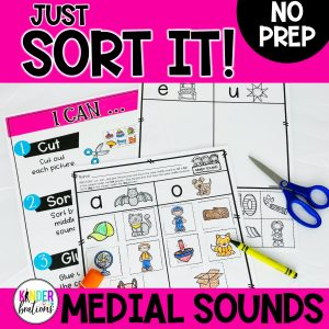 Just Sort It! Medial Short Vowel Sound Picture Sorts - Phonemic Awareness