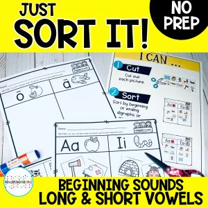 Just Sort It! Beginning Sounds Short and Long Vowels Picture Sorts - Phonemic Awareness Cover