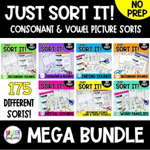 Just Sort It! Consonant and Vowel Sounds Picture Sorts MEGA BUNDLE - Phonemic Awareness Cover