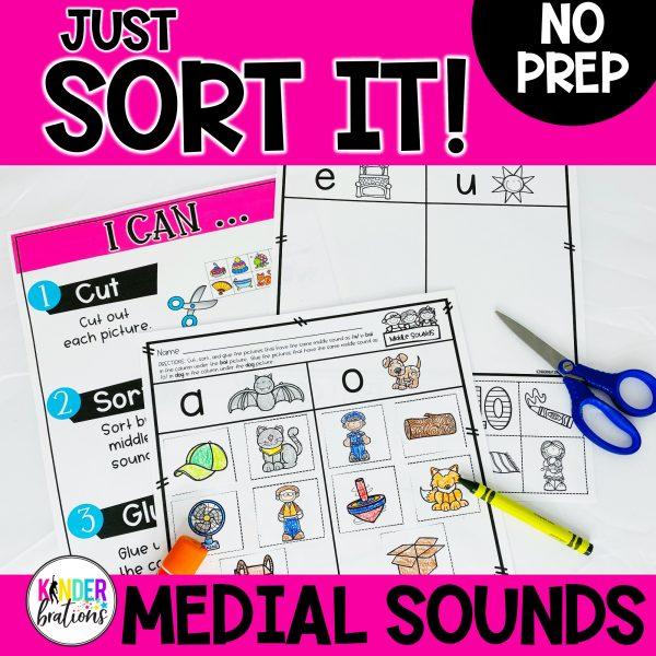 Just Sort It! Medial Short Vowel Sound Picture Sorts - Phonemic Awareness
